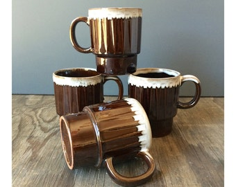 4 Japan Stacking Coffee Mugs - Chocolate Brown with White