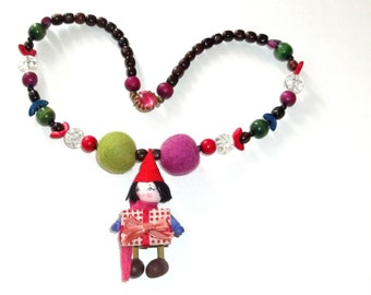 Santa's  Elf Necklace with a gift for you ,Vintage Beads and  Whimsical wood ornament Pendant