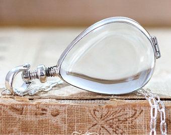 Sterling Silver  Glass Locket Pendant. Wedding Bouquet Charm. Tear Drop Shape. As seen in Pottery Barn. 28 x 21mm AHSSTGLP