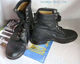 Vintage Flat Oxford Ankle Boots womens size 4 m / JUSTIN Black Leather Lace Up/ Granny Combat Boot /  Kids sz 2 .5 D Eu 34 UK 1 .5