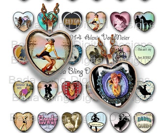 25mm hearts, Rodeo Cowgirls and Buckaroo Babes, digital collage sheets, INSTANT  Digital Download at Checkout,cowgirl pendants, rodeo gals