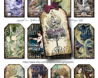 Mermaid gift tags, sheet 1... mermaid collage sheets,  INSTANT Digital Download at Checkout, mermaids, mermaid art, vintage mermaids