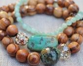African Turquoise, Olivewood, Amazonite, Swarovski Crystals, Czech Glass, Stackable Stretch Bracelet Set, Boho Beach Bracelet Set, Gift Box