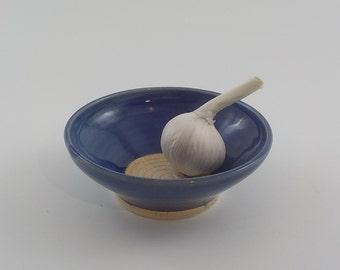 Ceramic Garlic Grater Bowl - Handmade Stoneware Grating Dish - Fresh Ginger Grater - Kitchen Food Prep - Cooks Gift - Royal Cobalt Blue v544