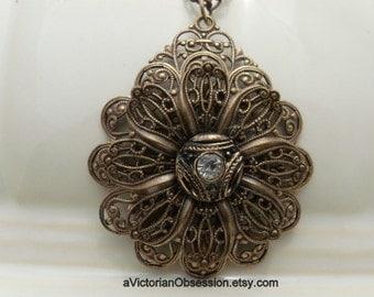 Victorian Vintage Style art deco pendant Vintage Rhinestone button