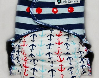 Cloth Diaper AI2 Made to Order - Custom All-in-2 Cloth Nappy -  Combo Print Stripes and Anchors -  Cloth Diapers Striped Nautical