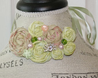Fabric Rosette Choker Necklace Pinks and Greens Small Wedding Piece
