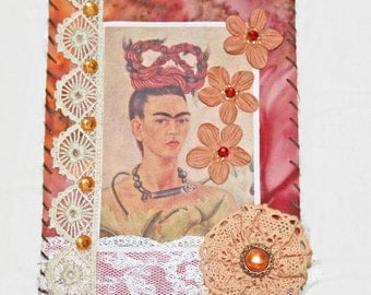 Frida Kahlo Mixed Media Mini Quilt Wall Hanging Desert Sunset Colors