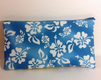 Turquoise Hibiscus Cosmetic Bag, Waterproof Tropical Cosmetic Bag, Purse Organizer, Hibiscus Makeup Bag