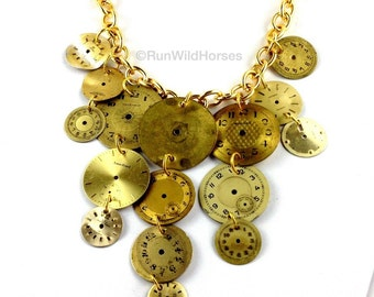 Vintage Watch Dial Steampunk Neo Victorian Gold Necklace ORIGINAL DESIGN