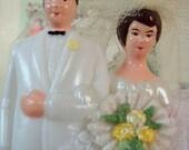Vintage / Wedding Cake Topper / Bride and Groom / Bridal Shower Cake Decoration / Double Applique Bouquet / White Tuxedo / Cotton Flowers