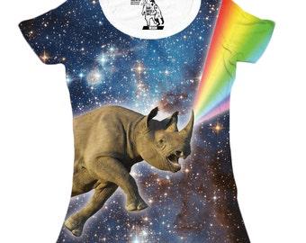 Womens Rhinocorn Tee, Funny Animal Tshirt, Galaxy, Rainvbow, Rhino, Women's Double-Sided T-Shirt, Sizes S-2XL
