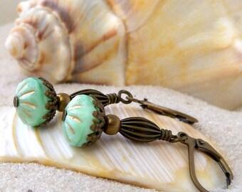 Handmade Earrings - Short Earrings - Dangle Earrings - Green Earrings - Bead Earrings - Mint Green Earrings - Short Earrings - Boho Earring
