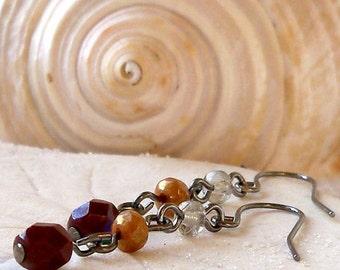 Lightweight Earrings - Glass Beaded Earrings - Gunmetal Earrings - Czech Glass - Dark Chestnut Earrings - Orange - Smokey Grey Earrings