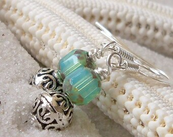 Glass Bead Jewelry - Glass Bead Earrings - Aqua Blue Earrings - Antique Silver and Milky Aqua Glass Bead Earrings - Silver and Aqua Earrings