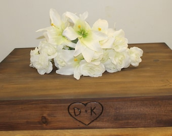 """Rustic Wedding Wooden Cake Stand LARGE 24"""" x 24"""" Riser Base woodland Barn Personalized Wood burned heart and Initials Custom"""