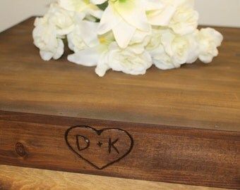"Wedding Wooden Cake Stand LARGE 24"" x 24"" Riser Base Rustic Country woodland Barn Personalized Wood burned heart and Initials Custom"