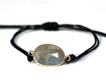 Labradorite Bracelet/Labradorite/Blue/Square Knot Bracelet/Handmade/Labradorite Jewelry/Grey Stone/Gift Ideas/Gift for Mum/Gift for Her