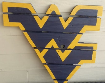 West Virginia Mountaineers sign made from reclaimed lumber, hand painted