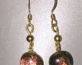 Copper Dichroic Fused Glass Earrings