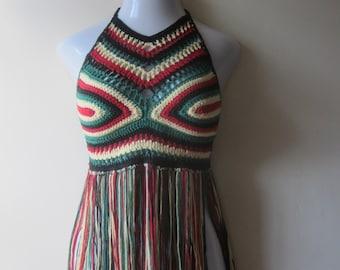 RASTA FESTIVAL TOP,    crochet fringe, crochet halter top,  halter top, caribbean, rasta,  afrocentric, carnivals, gypsy, boho