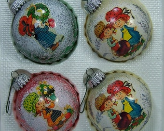 Vintage Ornaments, Happy Kids, Hand Decorated Glass, West Germany