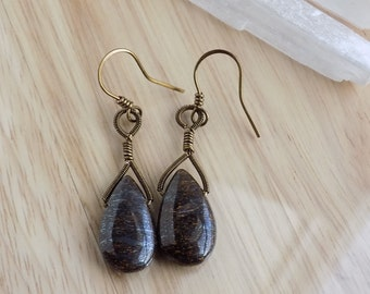 Bronzite Drops Vintage Bronze Parawire Wire Wrapped Dangle Earrings Wire Wrapped Jewelry Handmade Free USA Shipping