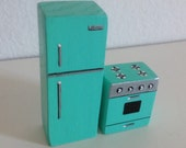 RESERVED FOR Cindy - Two Piece Turquoise Kitchen Set