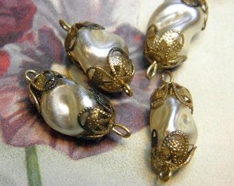 Vintage 14mm Baroque Glass Pearl Supply Brass Filigree Bead Caps
