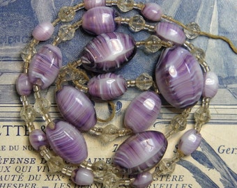 Antique Striped Glass Beads 1930s Supply Vintage