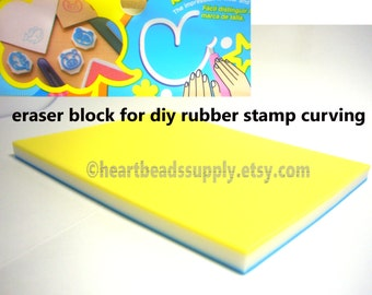 DIY Eraser stamp carving block, tricolor, made in Japan, print making, keshigomu, id1340755, rubber stamping block, DIY, chop, supply, tool