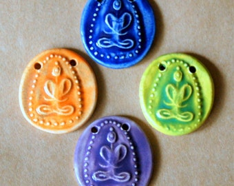 4 Handmade Ceramic Beads - Buddha Beads - Meditation Figure