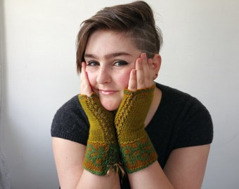 Olive and Gold Cashmere Gloves