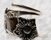 Silver Spoon RIng Old Patina Size 6 or resize