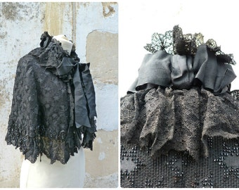Vintage Antique 1900 Victorian French cape /black silk adorned with lace & jet adornments /capelet/Matinée size free