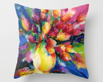 """Tulip Pillow, Flower Painting, Watercolor Art, """"Tulips"""" Original Floral flower watercolor art painting by Kathy Morton Stanion  EBSQ"""