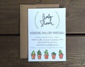 Custom Printable Baby Shower Invitation - Cacti Succulents - Download