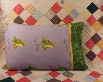 Standard size pillowcase, frog prince on light blue background