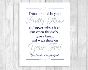 SALE Printable 8x10 Dance Around In Your Pretty Shoes Navy Blue and Silver/Gray Wedding Flip Flop Basket Digital Sign - Instant Download