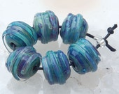 6 Seafoam Spheres Handmade Lampwork Beads in Sea Foam Green Blue Color Glass Beads by Karin Hruza Beadfairy