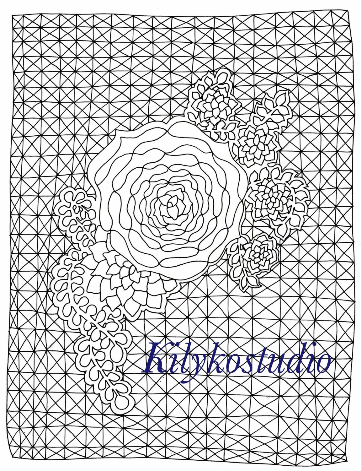 Geometric Succulent Adult Instant Digital Download