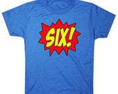 Youth SUPERHERO Sixth Birthday T-shirt - Royal Blue
