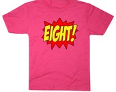 Youth SUPERHERO Eighth Birthday T-shirt - Hot Pink