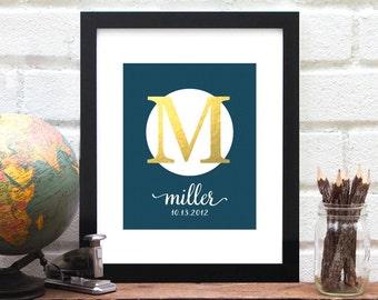 Last Name Personalized Monogram Art Print - Monogrammed Wedding Gifts, Established Sign, Bridal Shower Gift, Faux Gold Foil - 8x10 Art Print
