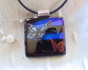 Dichroic Pendant, Fused Glass Jewelry, Necklace, Enamel, Necklace Included, Butterfly, One of a Kind, A8