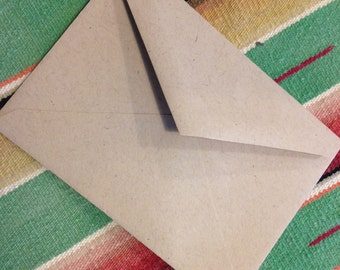 KRAFT ENVELOPES 4 Bar Box of 250 with pointed back flap recycled paper wedding invitations stationery A1