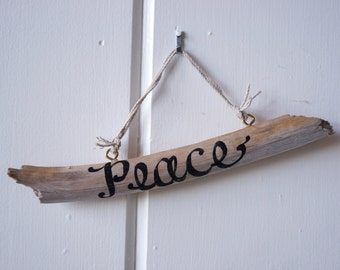 Peace Driftwood Sign - Summer - Seashore - beach - inspirational