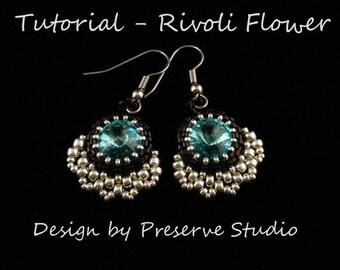 Rivoli Beaded Earrings, Rivoli Pattern, Beading Tutorial, Beaded Earring Tutorial, Beadweaving Tutorial, Rivoli Earrings, Crystal Earrings