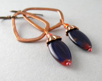 Navy and Orange Vintage Glass and Copper Hoop Earrings with Free USA Shipping