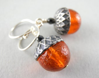 Orange and Black Autumn Pumpkin Acorn Earrings with Free USA Shipping